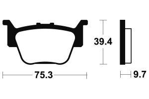 Zadné brzdové doštičky SBS 813SI - Honda TRX R 450ccm - 04>