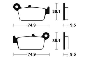 Zadné brzdové doštičky SBS 604SI - Yamaha YZ 125ccm - 98>02
