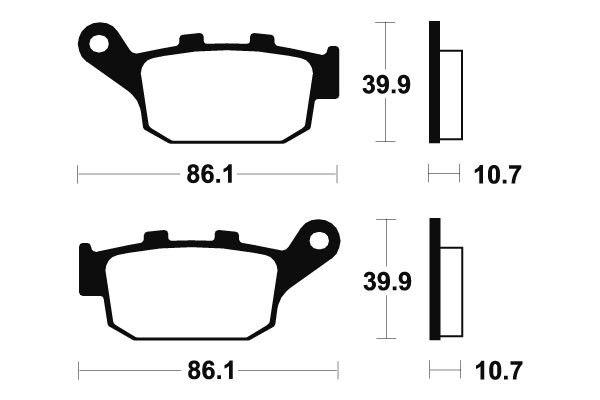 Zadné brzdové doštičky SBS 614HF - Honda Foresight 250ccm - 00> SBS (Bendix)