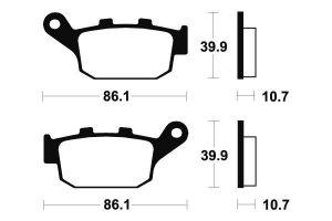 Zadné brzdové doštičky SBS 614LS - Honda Foresight 250ccm - 00>
