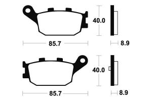 Zadné brzdové doštičky SBS 158HF - Honda Forza 250ccm - 00>04