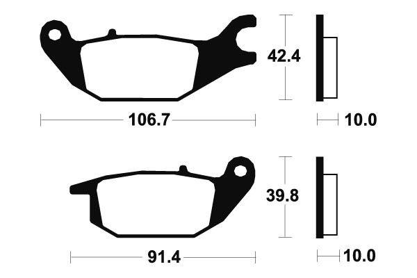 Zadné brzdové doštičky SBS 784HF - Honda Varadero 125ccm - 01> SBS (Bendix)