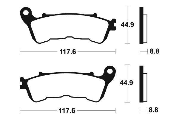 Predné brzdové doštičky SBS 828HS - Honda NC 700 S (s ABS), 700ccm - 12-13 SBS (Bendix)