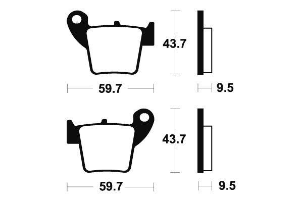 Zadné brzdové doštičky SBS 777RSI - Honda CRF 450 X, 450ccm - 05> SBS (Bendix)