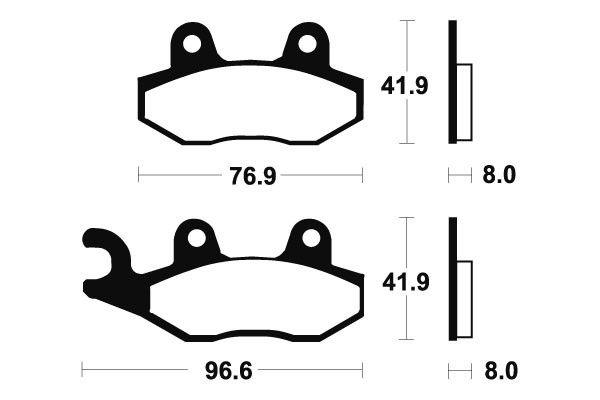 Predné brzdové doštičky SBS 611HF - Yamaha XT Z 125ccm - 05>06 SBS (Bendix)