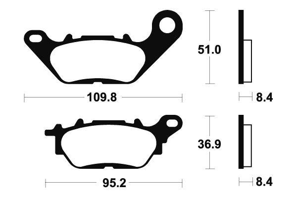 Predné brzdové doštičky SBS 858HF - Yamaha YBR 125ccm - 08> SBS (Bendix)