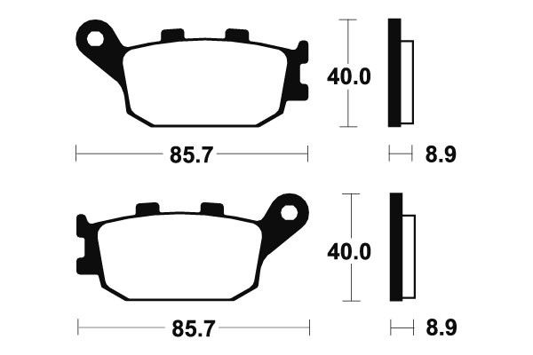 Zadné brzdové doštičky SBS 657HF - Honda CB 900 F Hornet, 900ccm - 01-07 SBS (Bendix)