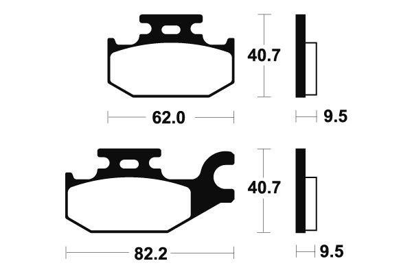 Zadné brzdové doštičky SBS 754RSI - Bombardier Outlander Max Left/Rear, 400ccm - 03>06 SBS (Bendix)