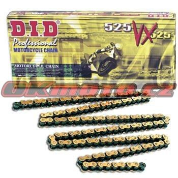 Reťaz DID - 525VX - X-ring - 118 článkov-zlatý D.I.D (Japonsko)