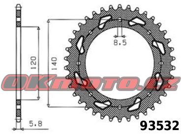 Rozeta SUNSTAR - Kawasaki KLX 650 R, 650ccm - 97>03 SUNSTAR (Japonsko)