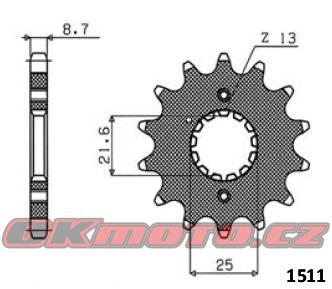 Reťazové koliesko SUNSTAR - Kawasaki GPX 500 R, 500ccm - 88>90 SUNSTAR (Japonsko)