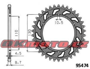 Rozeta SUNSTAR - Kawasaki GPX 500 R, 500ccm - 88>90 SUNSTAR (Japonsko)
