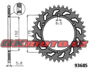 Rozeta SUNSTAR - Yamaha WR 125, 125ccm - 91>96 SUNSTAR (Japonsko)