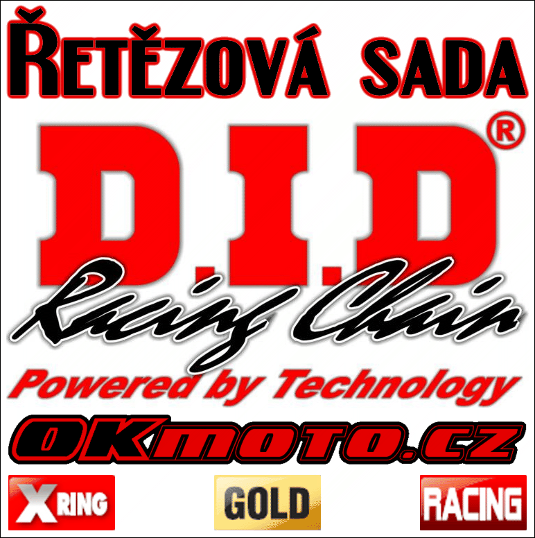 Reťazová sada D.I.D - 520ERVT GOLD X-ring - Yamaha YZ 125, 125ccm - 93>96 D.I.D (Japonsko)