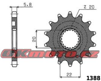 Reťazové koliesko SUNSTAR - Yamaha YZ 125, 125ccm - 05>14 SUNSTAR (Japonsko)