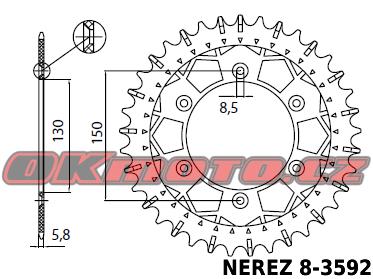 Rozeta SUNSTAR (NEREZ) - Yamaha YZ 125, 125ccm - 02>04 SUNSTAR (Japonsko)