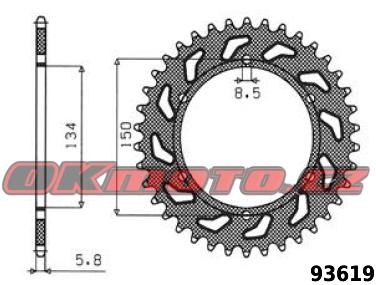 Rozeta SUNSTAR - Kawasaki KLX 650 R, 650ccm - 93>96 SUNSTAR (Japonsko)